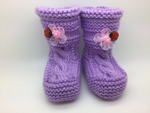 Baby Kids Children Knitted Boots, Socks, Knitted House Shoes, Knitted Winter Boots, Warm and Soft Purple Boots Booties Shoes 10cm