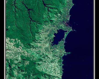 Wollongong New South Wales Australia From Space Satellite Poster Map
