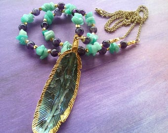 Abalone Feather boho necklace, amethyst boho necklace, Amazonite bohemian necklace,