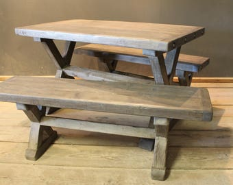 Dining Table and Bench Set, Crofters Farmhouse Kitchen Table and 2 Benches (The Cinderford)
