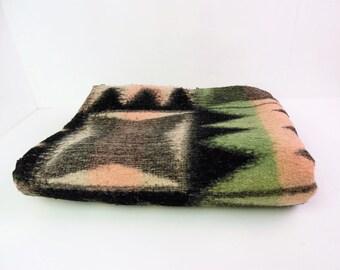 Tetem blanket / throw, mid century, reversible, green, pink and black geometric, wool - worn