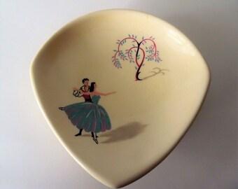 "Vintage ceramic  Beswick ""Ballet"" Pin dish.  Beswick Pin Tray.  1950s ""Ballet"" Trinket dish."