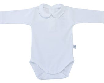 White peter pan collar bodysuit with long sleeves-pima cotton-personalized onesie-peter pan collar top-white one-piece suit-