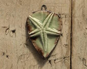 Handmade starfish ceramic pendant