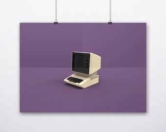 Apple Mac 2 Computer Simple Illustration Minimal Clean Art Poster