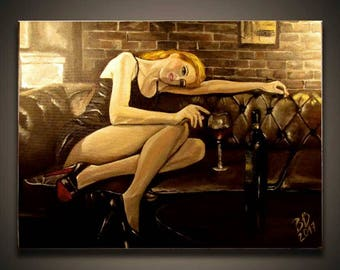 Original Painting on canvas with COA Lady with the glass of wine