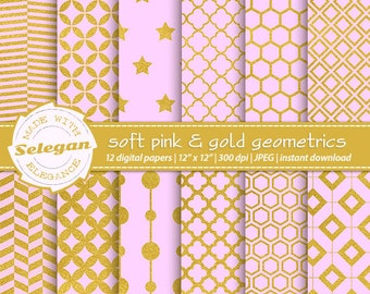 "Pink and Gold Digital Paper "" Soft Pink & gold Geometrics "" digital printable scrapbook backgrounds with pink and gold geometric patterns."