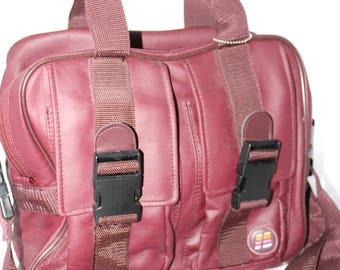 "Beautiful Burgundy Brunswick Bowling Ball Bag -- Pockets, Name Tag, Handle, Ball Cup, Shoulder Strap -- 12"" x  9"" x 12"""