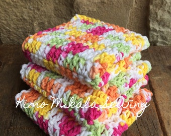 Crocheted Dishcloths - Brightly Colored -Variegated Pink, Green, Orange, and Yellow - 100% Cotton  - Set of Three