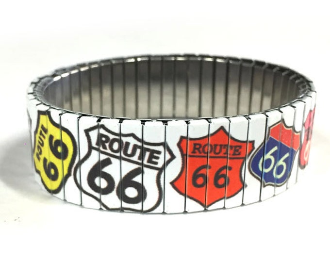 Bracelet ROUTE 66 SIGN, Americana, Stretch Bracelet, Repurpose watch band, Sublimation, Stainless Steel, Wrist Band, gift for friends