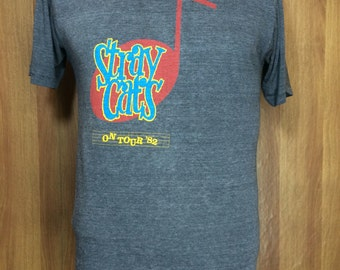 Rare 80s vintage STRAY CATS On Tour '82 Band T-shirt Paperthin Polyester Cotton 50/50