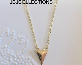 SALE... Tiny Triangle Necklace, Gold Necklace, Minimalist Charm