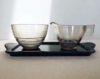 Dutch Vintage Art Deco Glass - Reflex - Creamer and Sugar Bowl with Black Tray Designed by A D Copier for Royal Leerdam