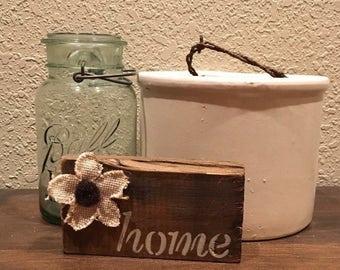 "Reclaimed Wood Shelf Sitter - ""home"""