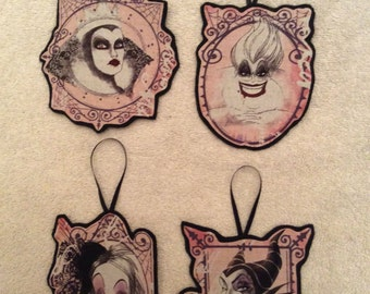 Disney Villian Christmas Ornaments-Set of 4-Cruella De Vil, Ursula, The Evil Queen and Maleficent