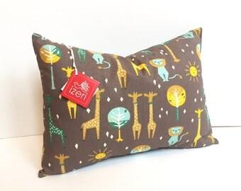 "Safari Pillow | Giraffe Pillow | Zoo Pillow | Nursery Decor |  Animal Print Pillow | Africa Pillow | 12""x16"" Cover and Insert"