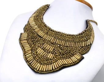 Tibetan Brass Collar Bib Necklace - Gold