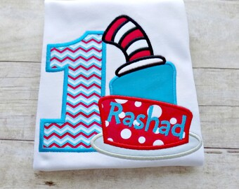Boys Dr. Suess Birthday shirt,Toddlers Cat in the Hat Birthday,with Numbers,Cats Hat,Cake,Monogrammed, Personalized, Embroidered, Appliqued