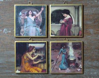 Pre-Raphaelite Witchcraft Pagan Sorceress Set of 4 Ceramic Tile Wall Art / Drink Coasters, Handmade