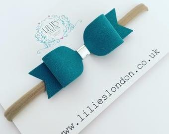Turquoise hair bow, suedette hair clip, super soft headband, baby hair bow, women's hair slide, medium hair bobble, blue hair accessory