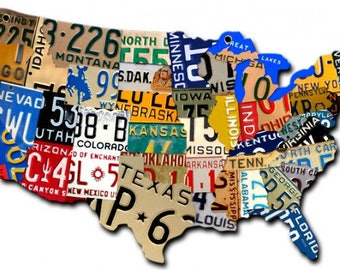 "Metal Sign "" U.S.A. America License Plates States "" 10""x6"" Man Cave"