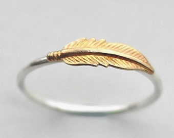 Sterling Silver Feather Ring, Brass Feather Ring, Feather Jewelry, Girlfriend Gift, Wife Gift, Anniversary Gift