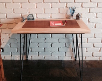 vintage recycled timber & steel hairpin leg desk / industrial table