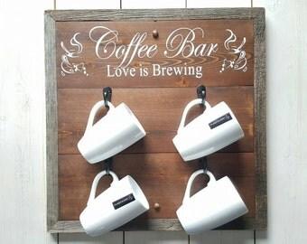 Coffee Bar Sign, Love is Brewing, Coffee Mug Display, Coffee Mug Rack, Coffee Gifts, Wedding Gift, Coffee Sign, Reclaimed Wood, Hook Sign
