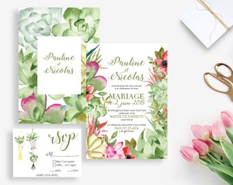 Printable Wedding invitation with rsvp card - Succulents Wedding invitation - Watercolor invitation -Wedding DIY - Boho wedding Palm Springs