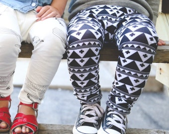 Leggings - Unisex Baby/Toddler/Kids Leggings, SETH print - tribal, monochrome, black and white