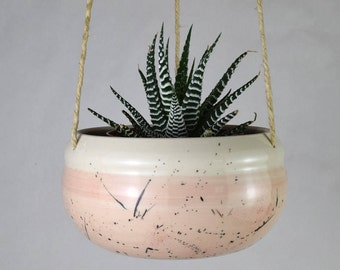 Handmade Ceramic Hanging Planter / Spatter Pattern Planter / Blush Pink Plant Pot / Indoor Hanging Planter / Made in Canada Pottery