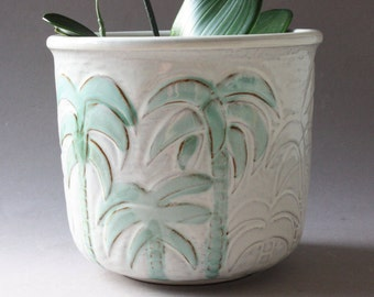 Großer Blumentopf, Übertopf Keramik, Pflanzentopf, Keramiktopf, Palmen weiß grün, Germany vintage 80er 90er, Geschenk Frau Freundin