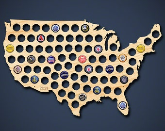 Beer Cap Map of USA - Engravable Beautiful Birch Wood! - USA Craft Beer Cap Holder, Cool Christmas Gifts for Men, Husbands, Dad