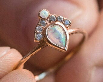 Opal and Diamond Ring - Pear shaped Opal - Small white Diamonds - Gold ring - engagement ring - Diamond ring -  Crown Ring - Fan ring