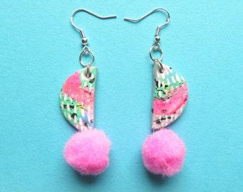 Dangle earrings, fun, bright, pom pom earrings, statement earrings, polymer clay, neon earrings, hand-painted earrings