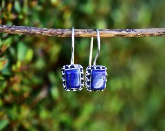 SALE Lapis Earrings Lapis Lazuli Earring Blue Earring Lapis Jewelry Silver Lapis Earring Blue Lapis Earrings Lapis Dangle Drop Earring Gift