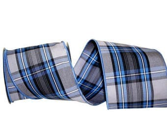 """4"""" Gentlemans Plaid Ribbon Wire Edge - Sold in 10 Yard rolls - Made in USA!"""