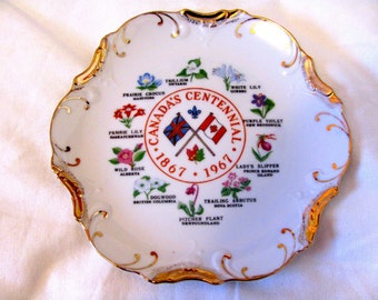 Vintage 1967 Canada's Centennial Plate, Made in Japan