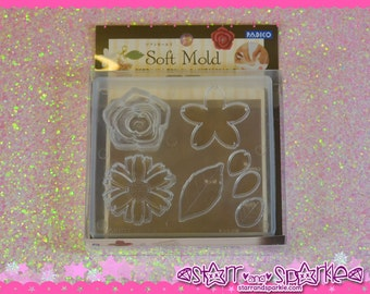 Padico Clay Soft Mold - Flower - for Soft Clay, Charms, Accessories, Deco, Kawaii, Crafts, Miniature Food