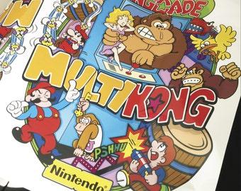 Arcade Side Art - KONG, MULTICADE, Kongcade Gaming - PAIR of Graphics Stickers