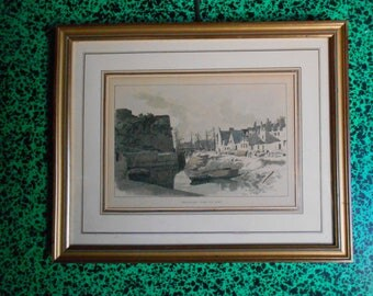 Antique French Victorian Engraving Framed, Belle Ile, 1880, signed, deco