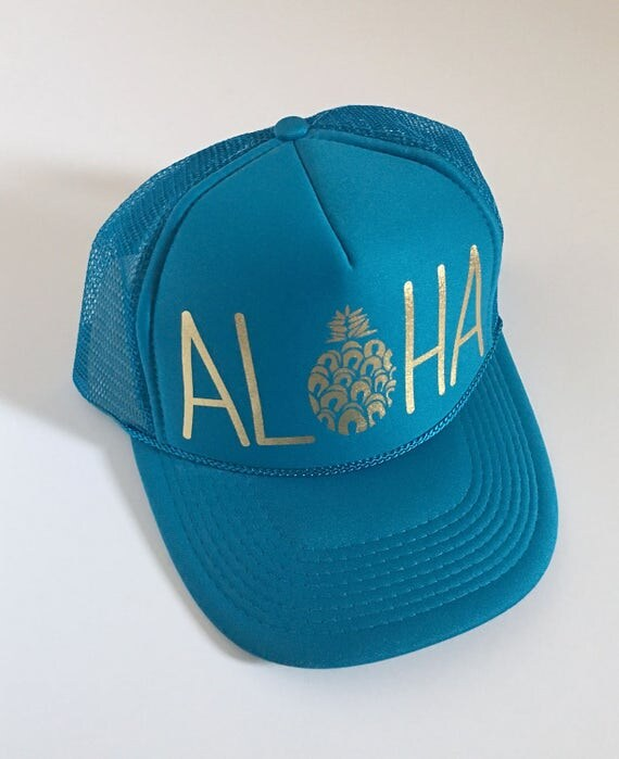 Aloha Pineapple Hat| Santorini| Aloha Trucker Hat| Aloha Hat| Trucker Hat| Hawaii Hat| Pineapple Hat| Pineapple| Beach Hat| Blue Hat