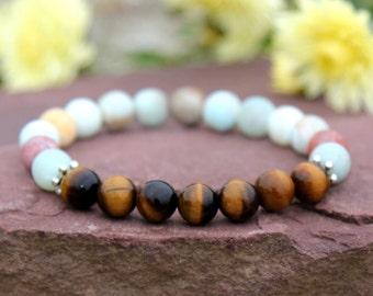 boyfriend gift boyfriend bracelet boyfriend jewelry amazonite bracelet amazonite jewelry stone bracelet Elastic Bracelet Beachy Bracelet