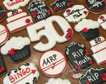 1 doz. 50th Birthday Over the Hill Cookies