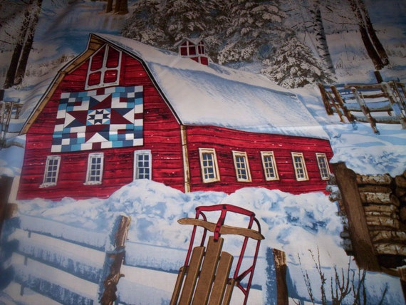 1 Panel Winter Barn Scenic Timeless Treasures Fabrics Quilt
