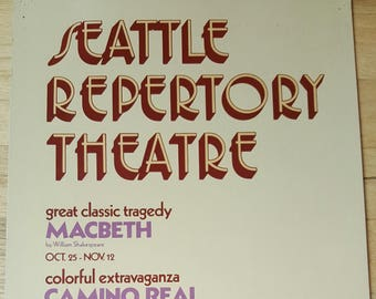 1973 Seattle Repertory Theatre poster for their 10th Anniversary