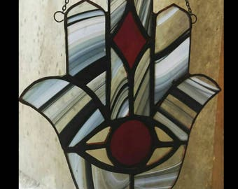 Stained Glass Hamsa Hamesh Sun Catcher