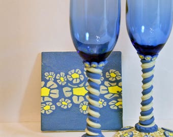 Polymer Clay  wine glasses and coaster set (Blue daisies)