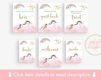 Unicorn Baby Shower Table Sign Pack, Printable Signs, Pink & Gold, Rainbow Unicorn, Pastel, Welcome Sign, Guest Book Sign, Take a Treat Sign