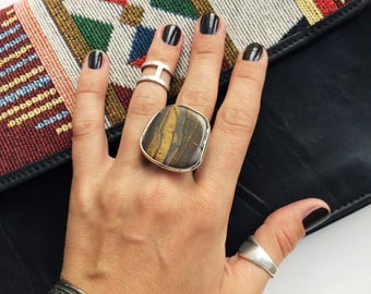 Big ring with natural stone, ring Tiger's eye, brown stone ring, natural stone, big stone ring, gift for women, boho ring